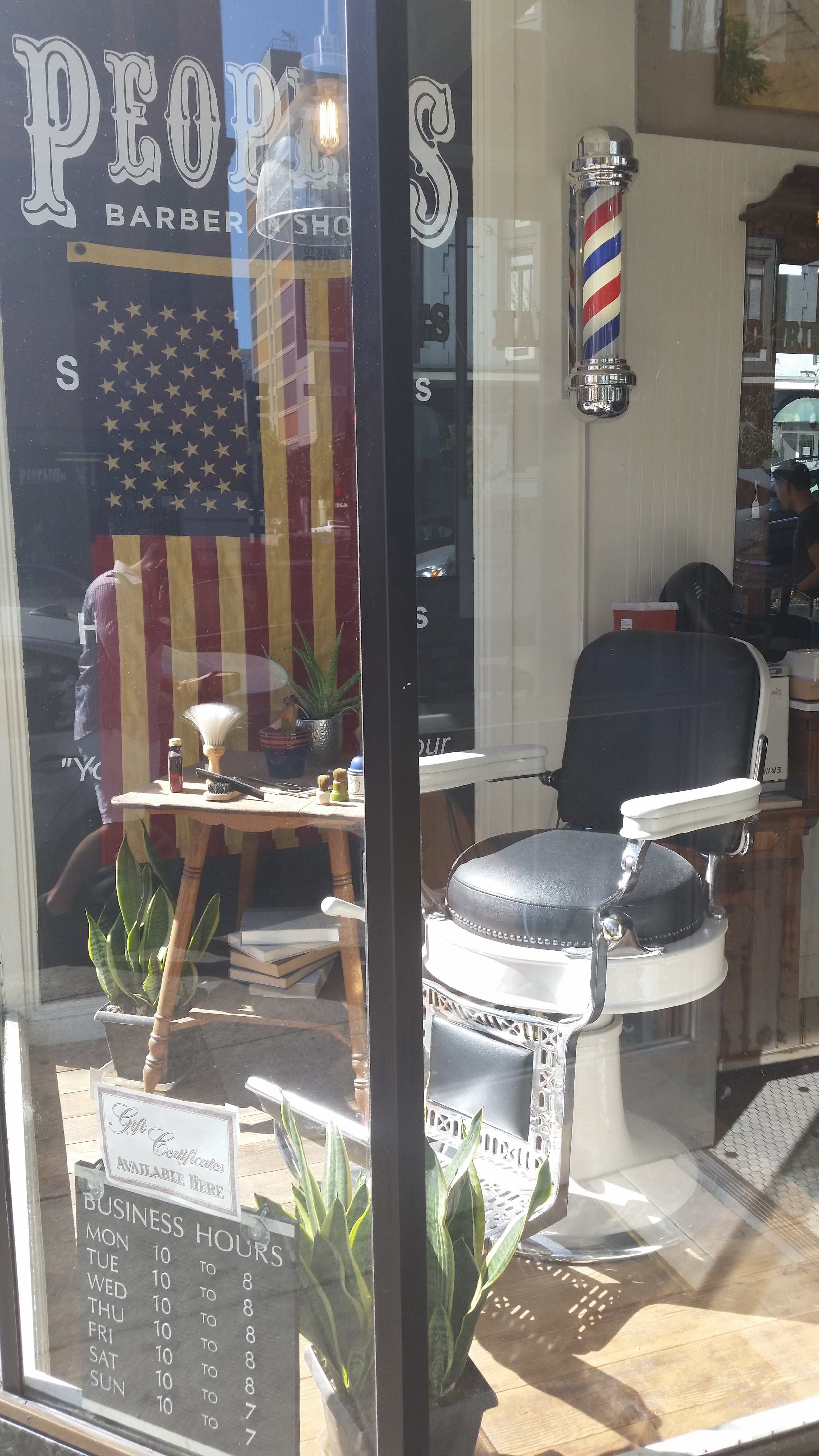 Peoples Barber and Shop located on Polk Street, San Francisco.