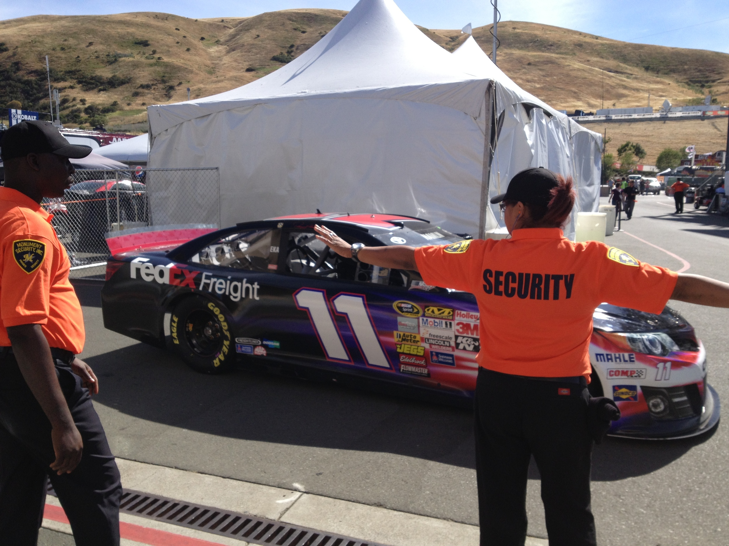 Denny Hamlin heading from the garage to the track at Sonoma Raceway.