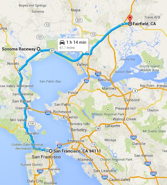 Story 1 - San Francisco; Story 2 - Sonoma Raceway; Story 3 - Fairfield fire.