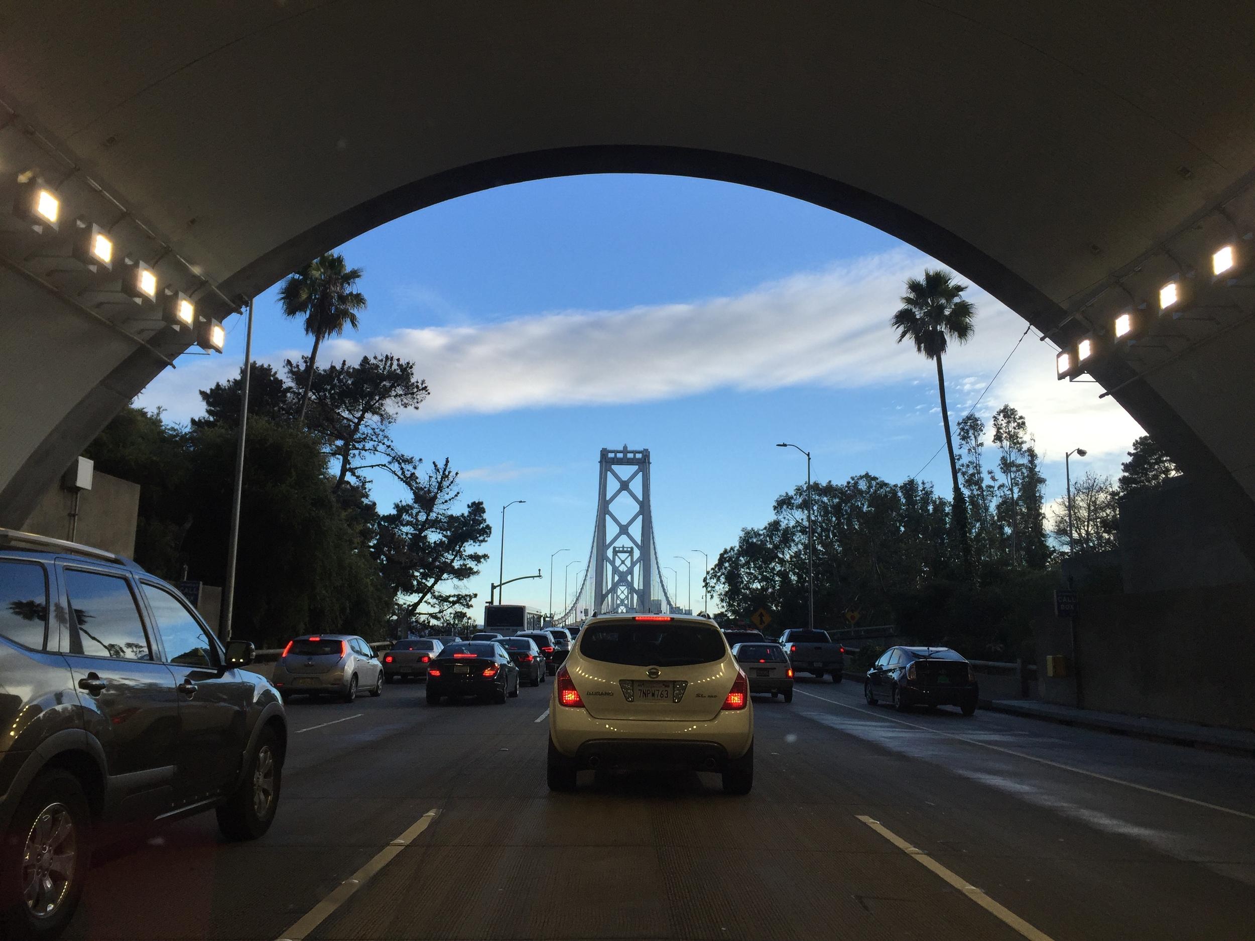 Heading west back to San Francisco through the Yerba Buena Island tunnel.