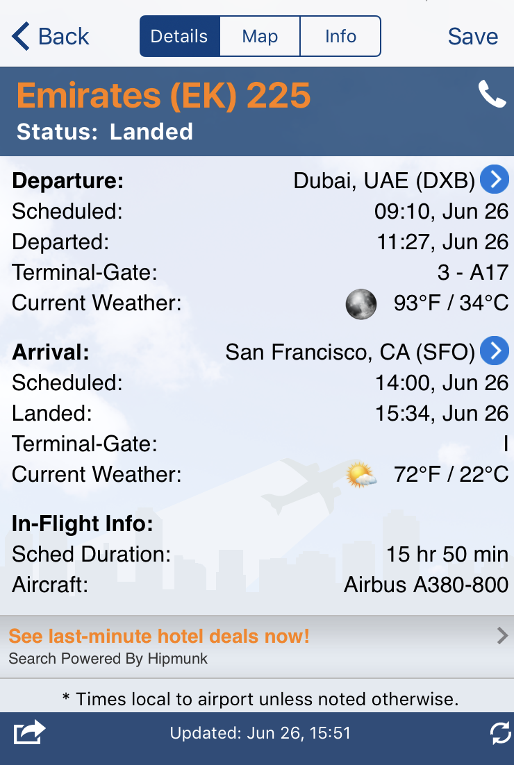 FlightView screen grab. Check out the flight duration!