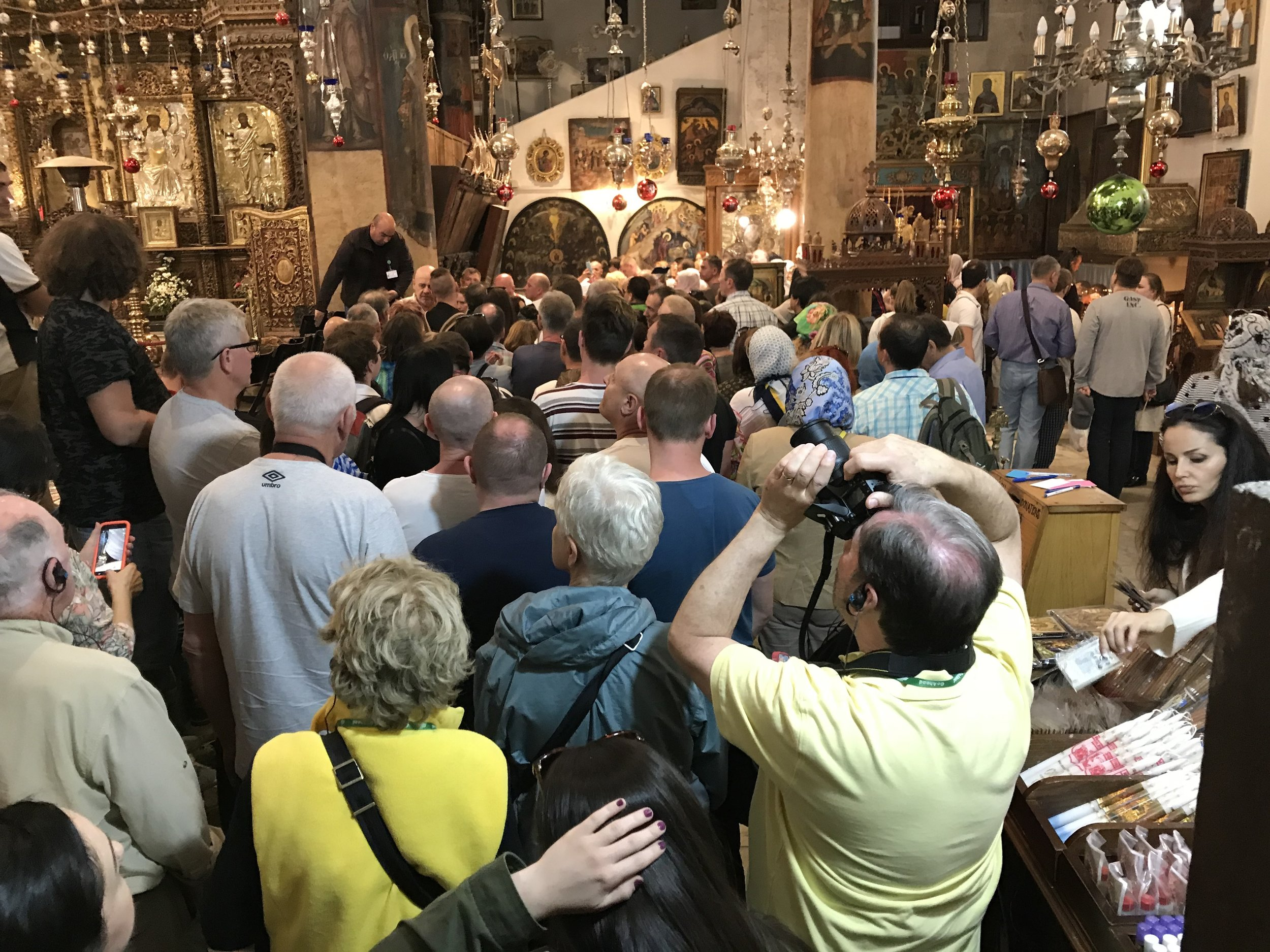The beginning of the line to see where Jesus was born in the Basilica of the Nativity.