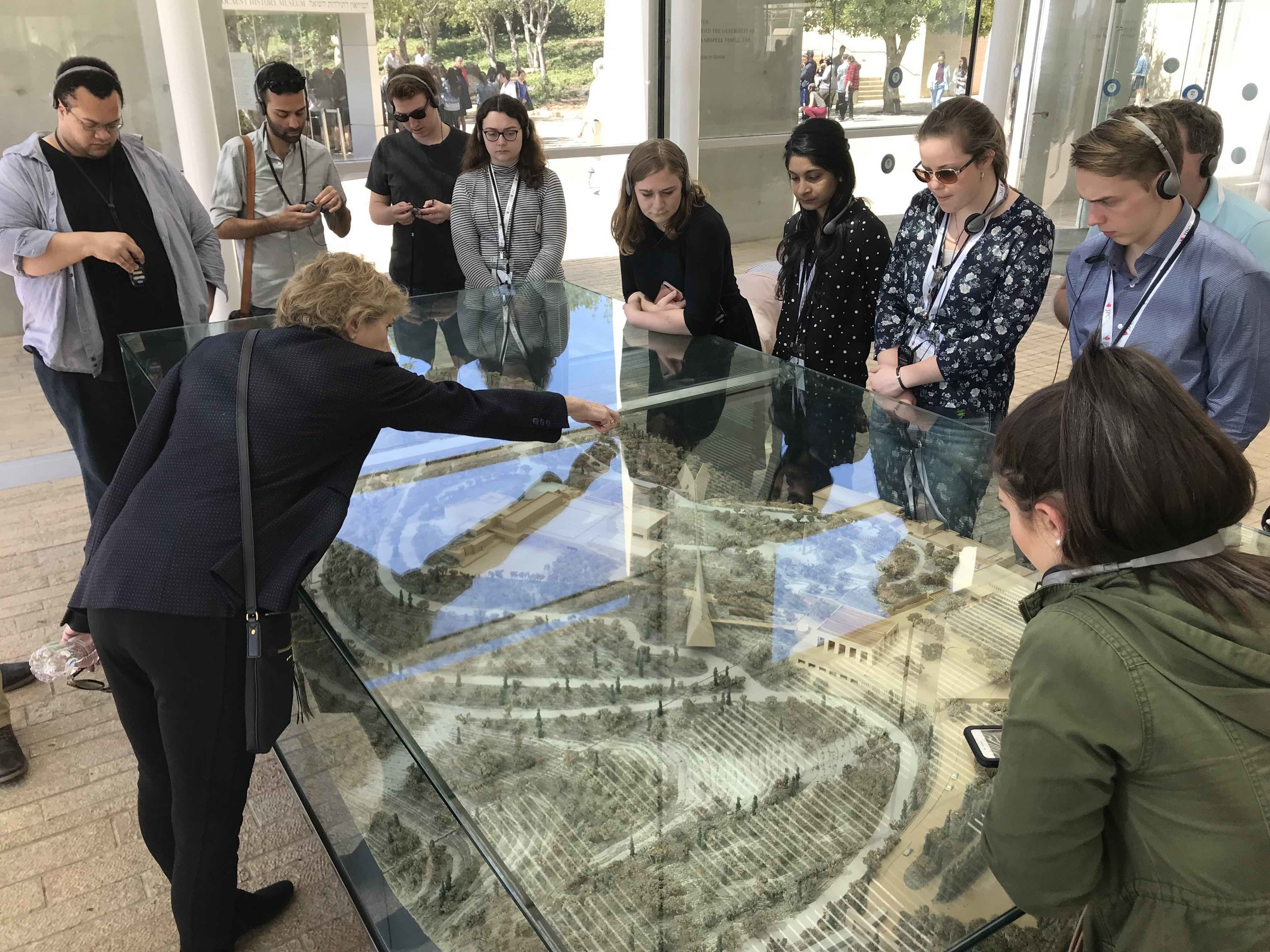 Newhouse students getting an overview of Yad Vashem, the Israeli Holocaust museum.