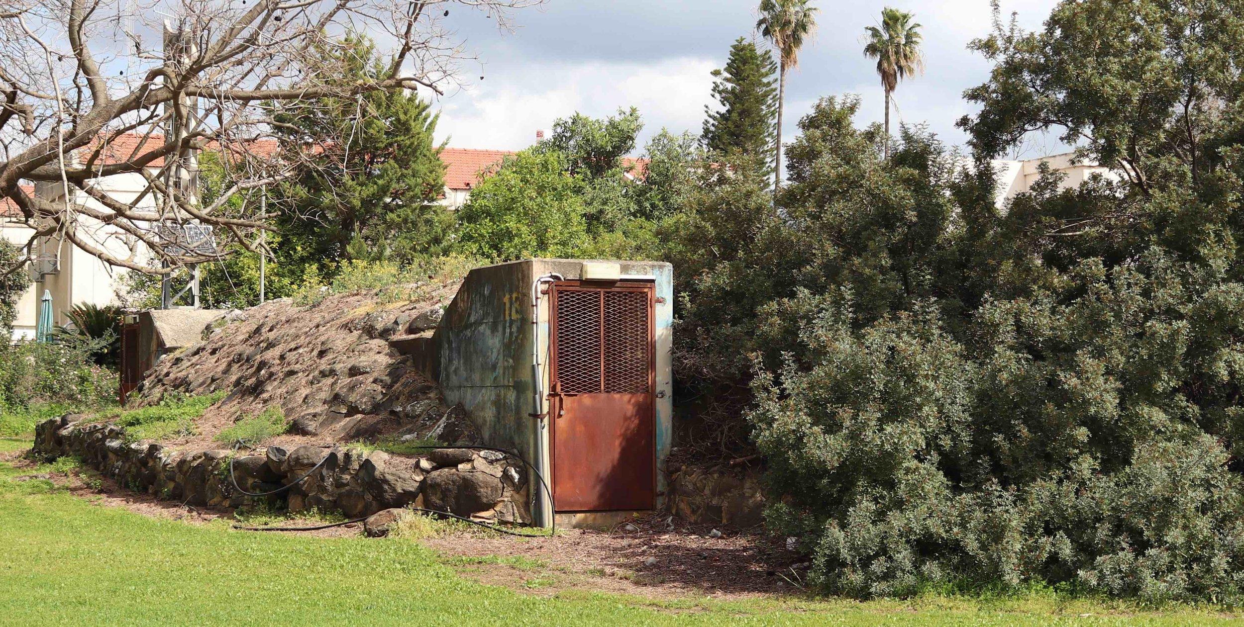 Bomb shelter doorway at Kibbutz Dafna.