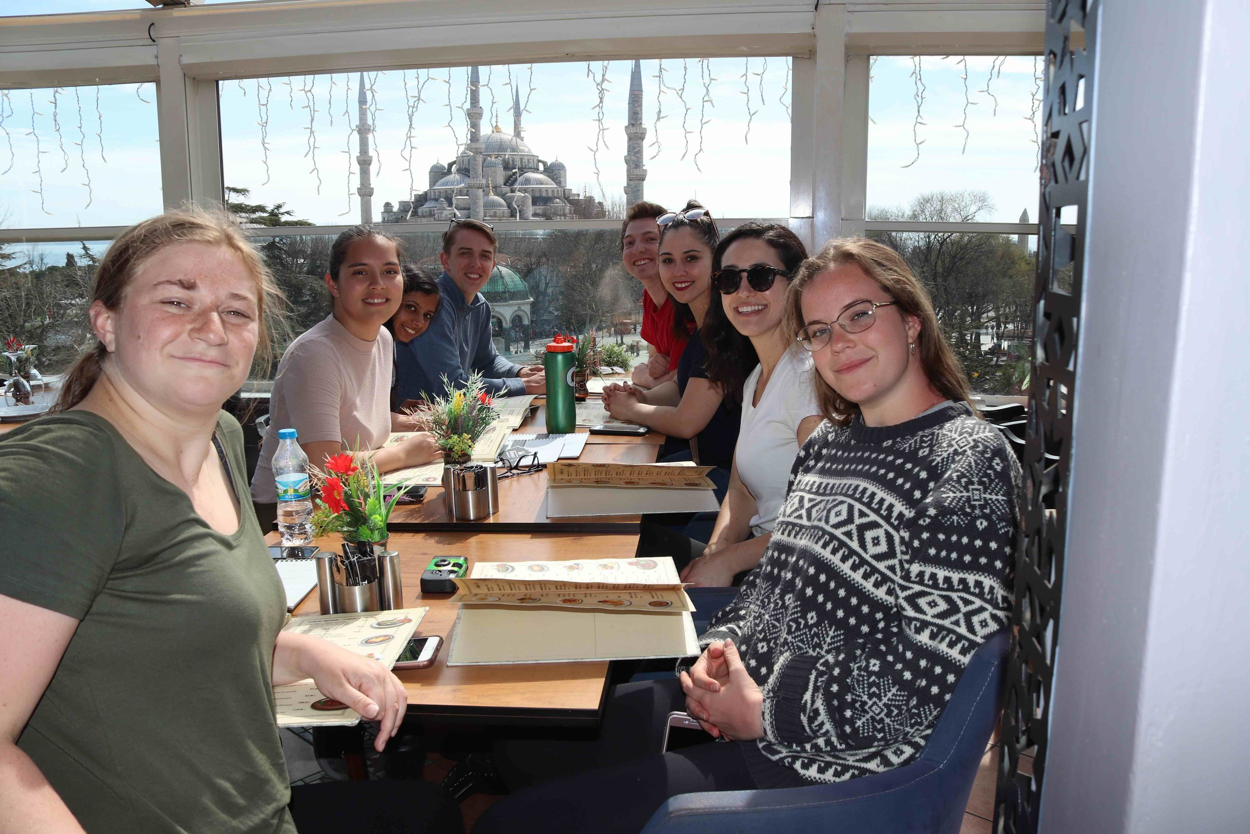Newhouse students enjoy lunch at The Terrace Restaurant, overlooking the Blue Mosque in Istanbul.