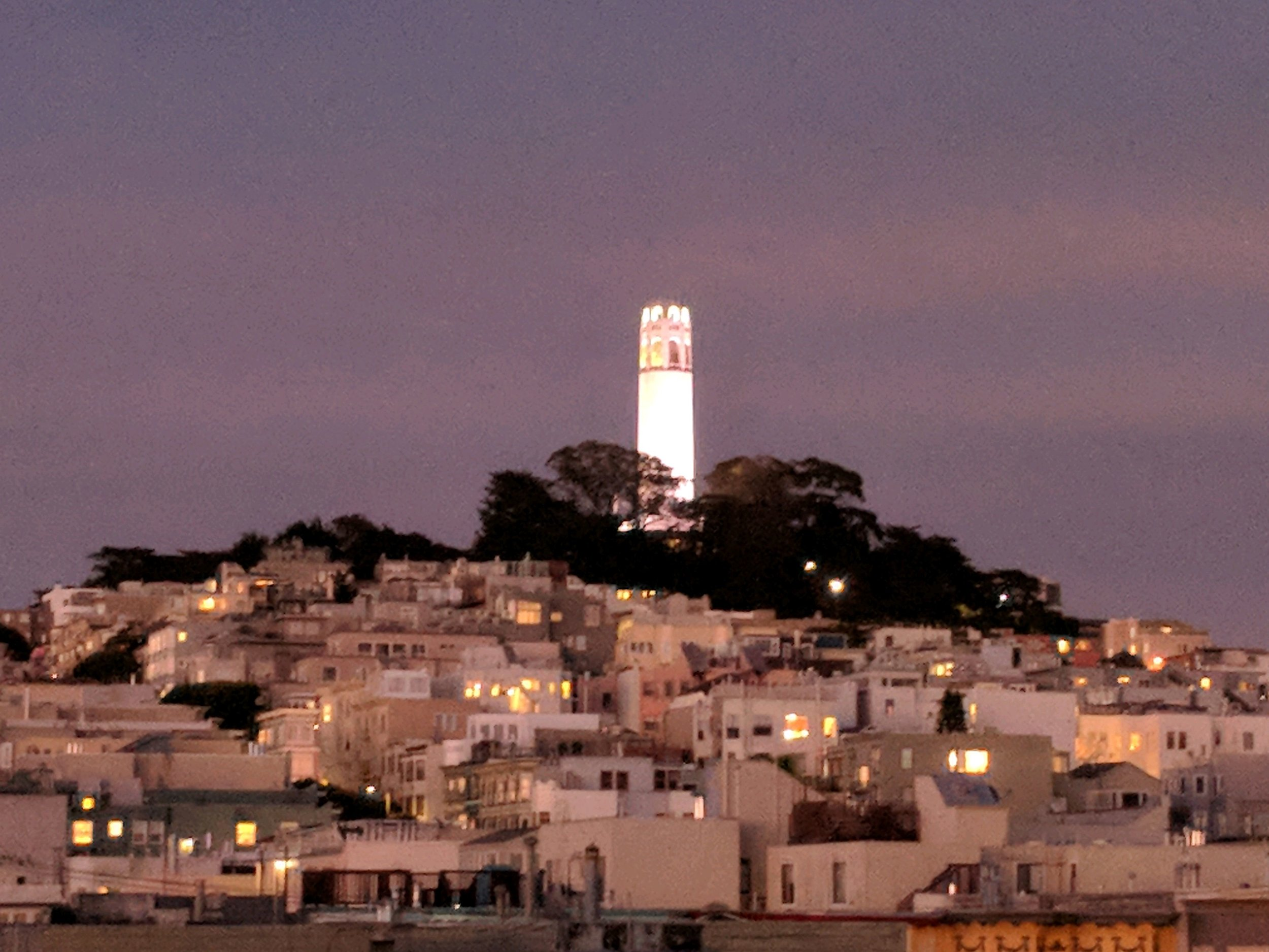 Coit Tower by night.