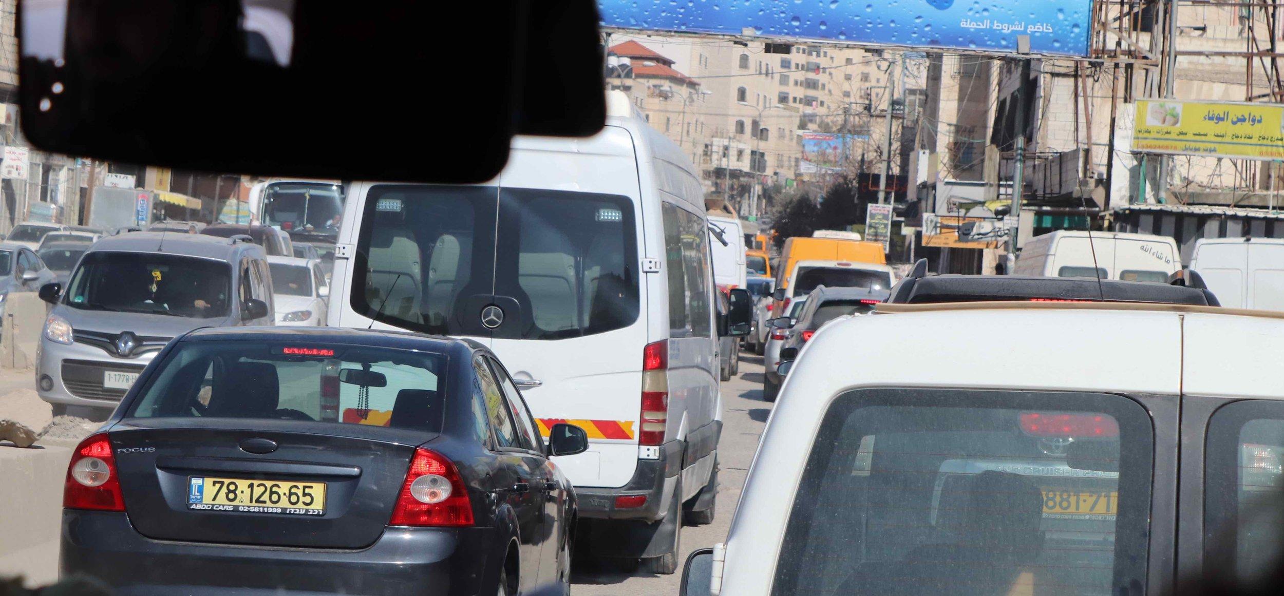 Checkpoint traffic jam.