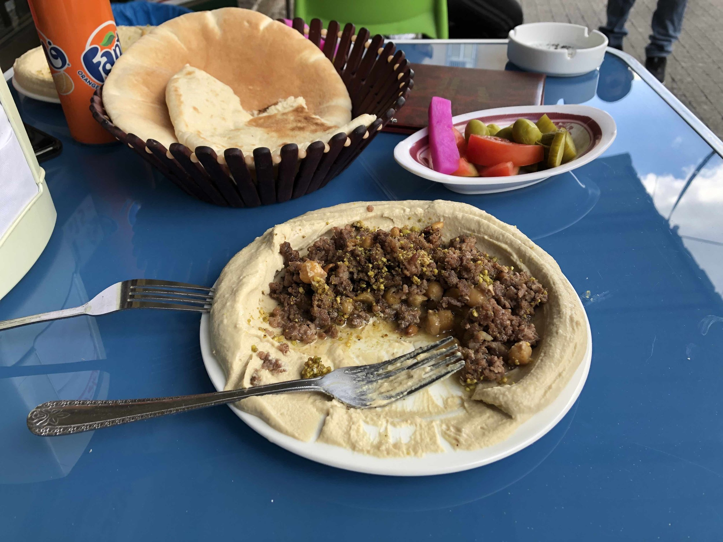 Lunch in Nazareth - hummus with meat.