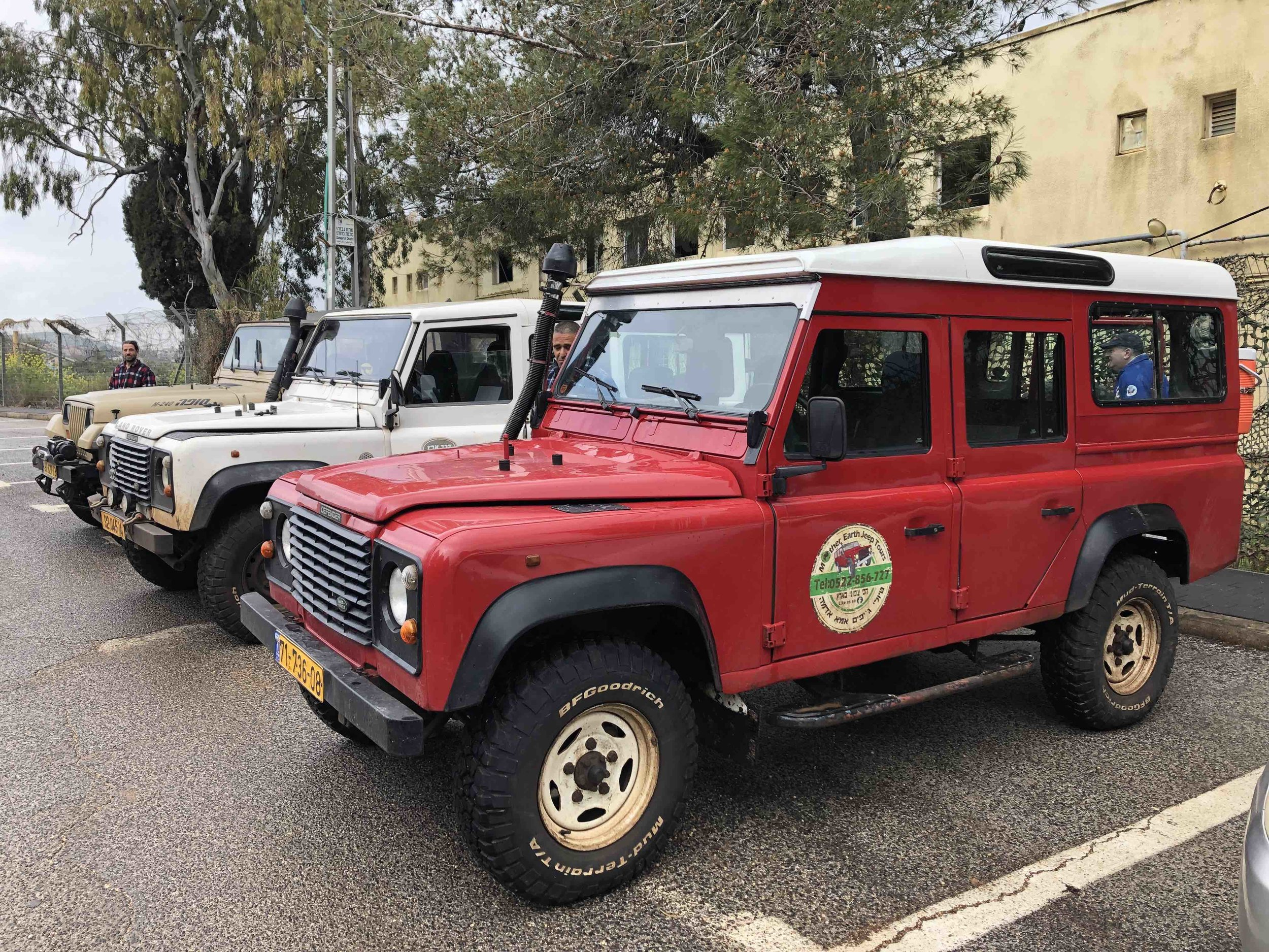 Our fleet of old-school Land Rovers for a tour of Metula and the countryside.