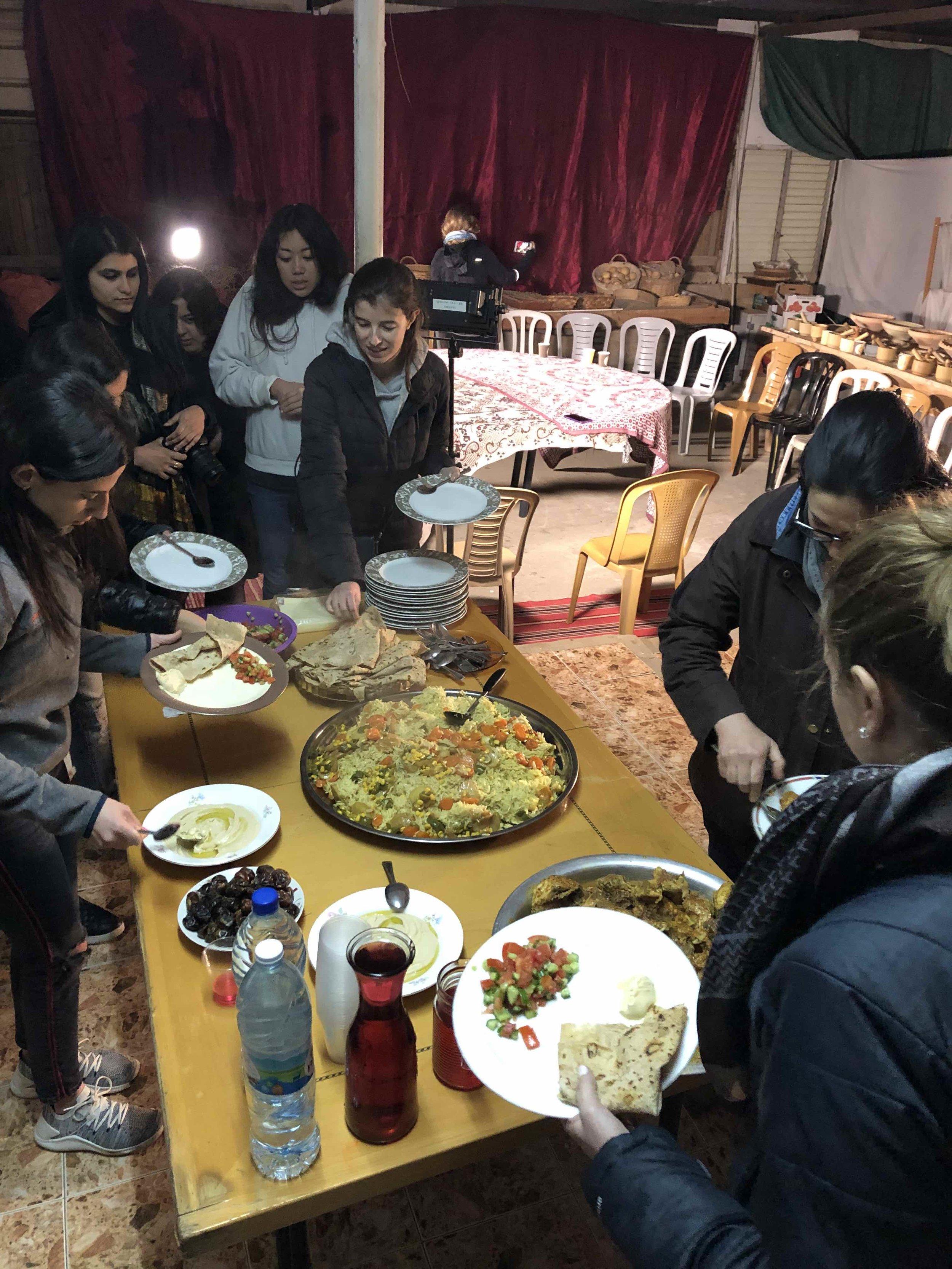 Students enjoy a Bedouin dinner.
