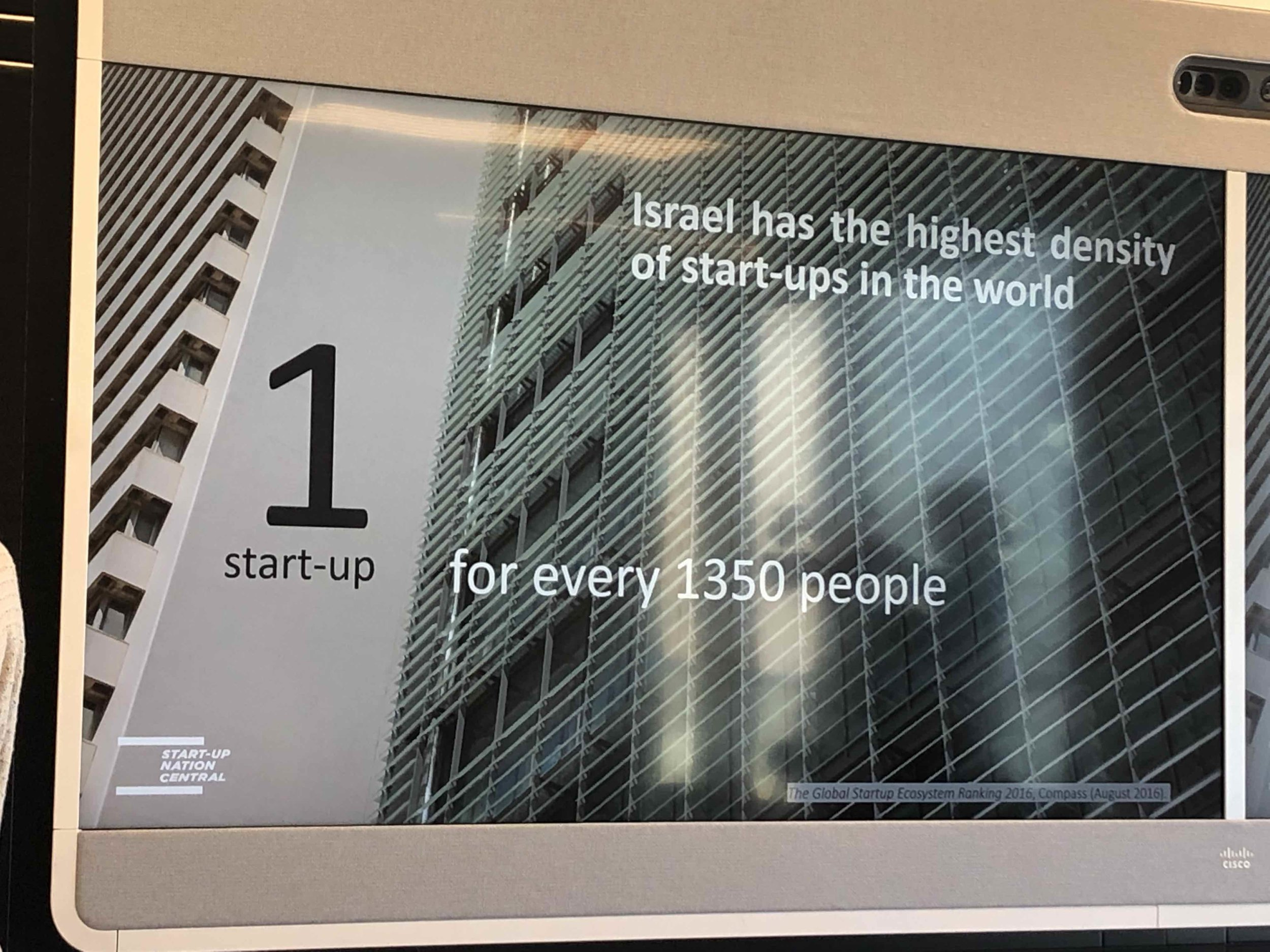 Israel leads the world in start-ups per capita.