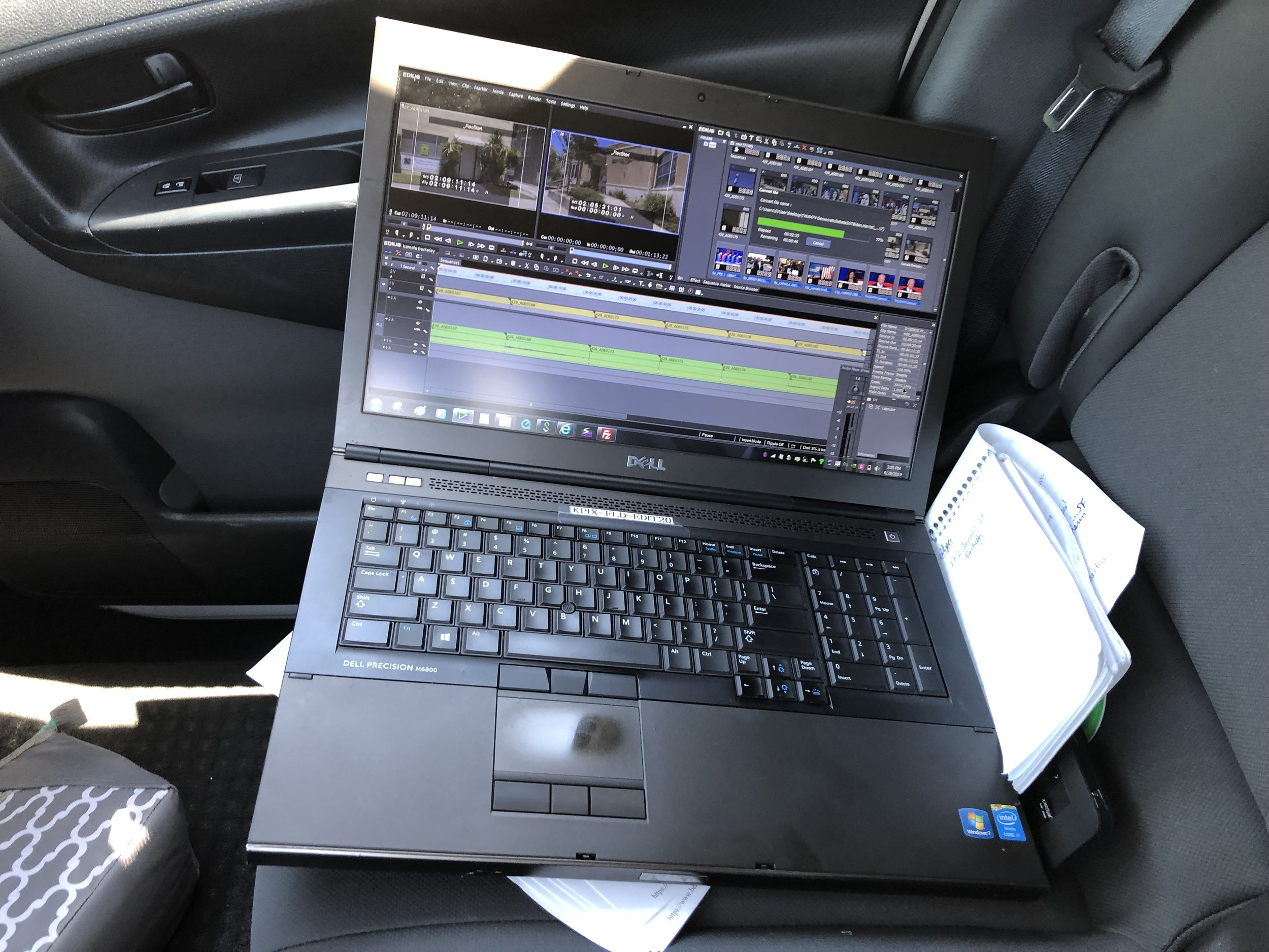 Feeding video back to the station for the 2 p.m. streaming newscast over wi-fi as I'm driving to my next location. Another way technology makes doing more possible.