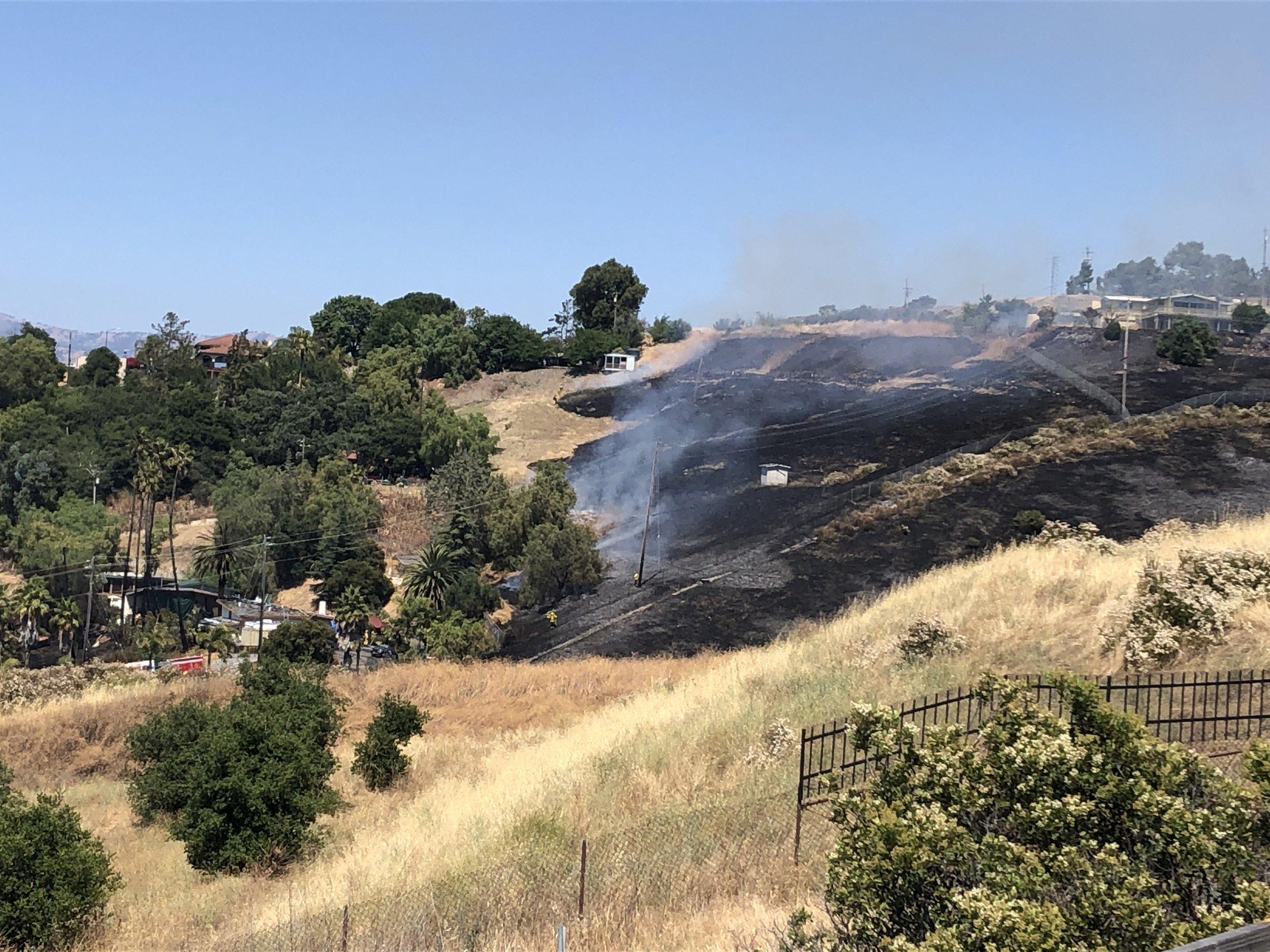 Charred hillside in San Jose.