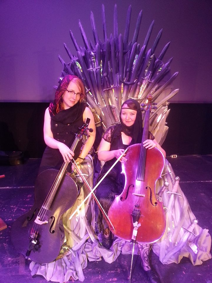 With Clara Shandler the Sidewalk Cellist at the Fictionals Throne and Games improv show, Vancouver 2014