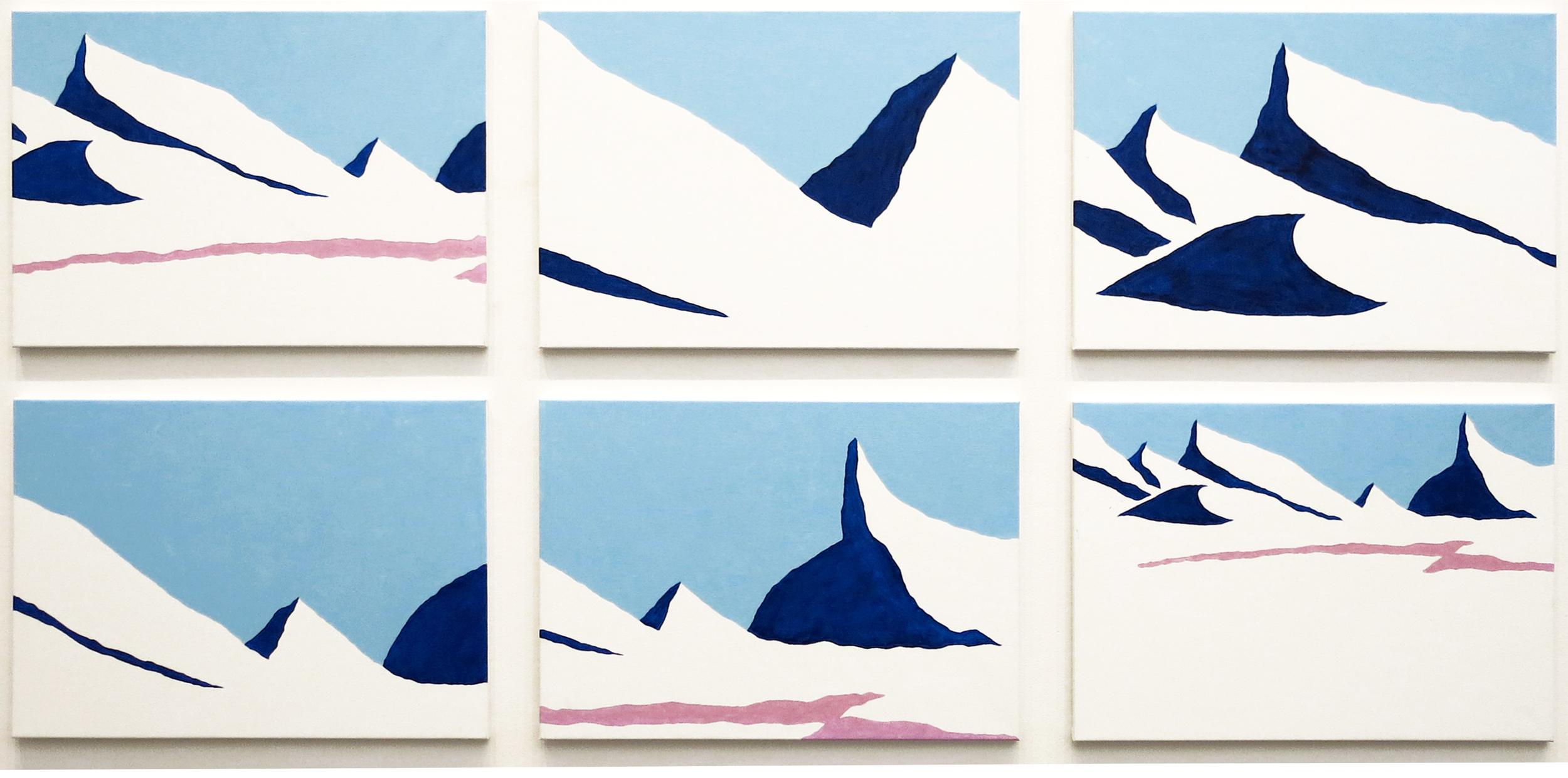 Stig Brøgger, Snelandskab (Snow Landscape), 2013, Oil on canvas, 6 parts, each63 x 90 cm
