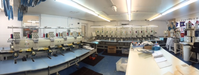 Our Embroidery room- We use a 12 head and a 6 head machine for production and a single head for stitchouts and special projects.