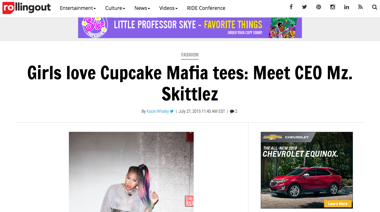 Featured on Rolling Out.com - Girls Love Cupcake Mafia Tees: Meet Mz. Skittlez the Ceo.
