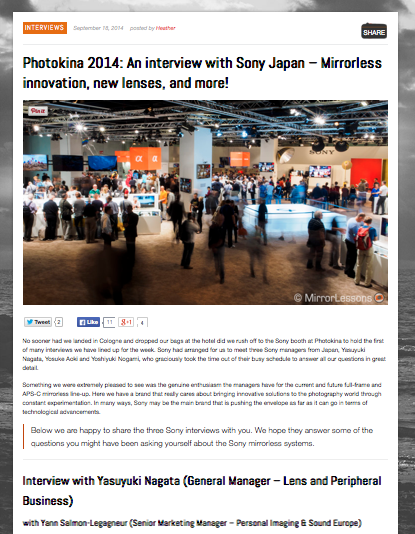 http://www.bestmirrorlesscamerareviews.com/2014/09/18/photokina-2014-an-interview-with-sony-japan-mirrorless-innovation-new-lenses-and-more/#prettyPhoto