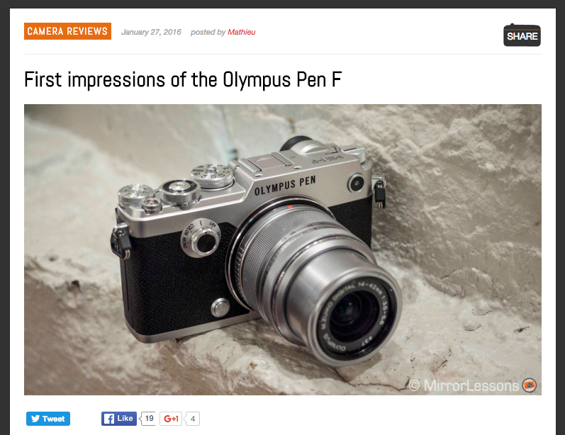 http://www.mirrorlessons.com/2016/01/27/olympus-pen-f-review-hands-on/