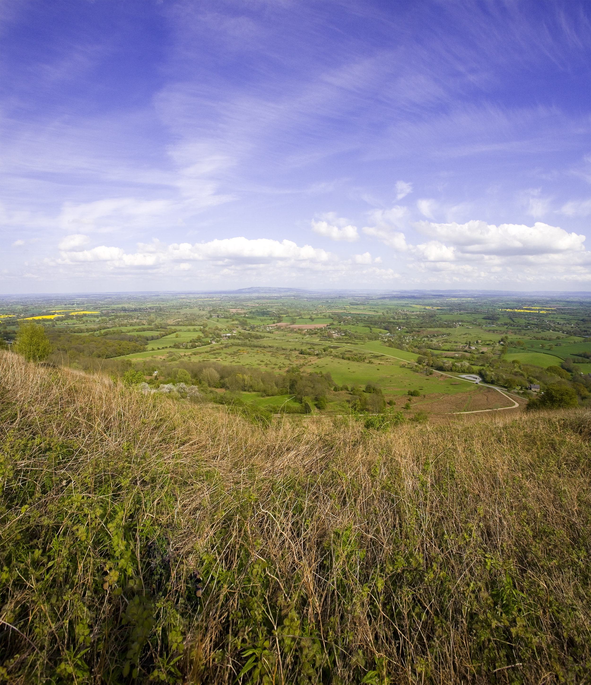 View from the ridge of the Malvern Hills Worcestershire Herefordshire English Midlands England UK