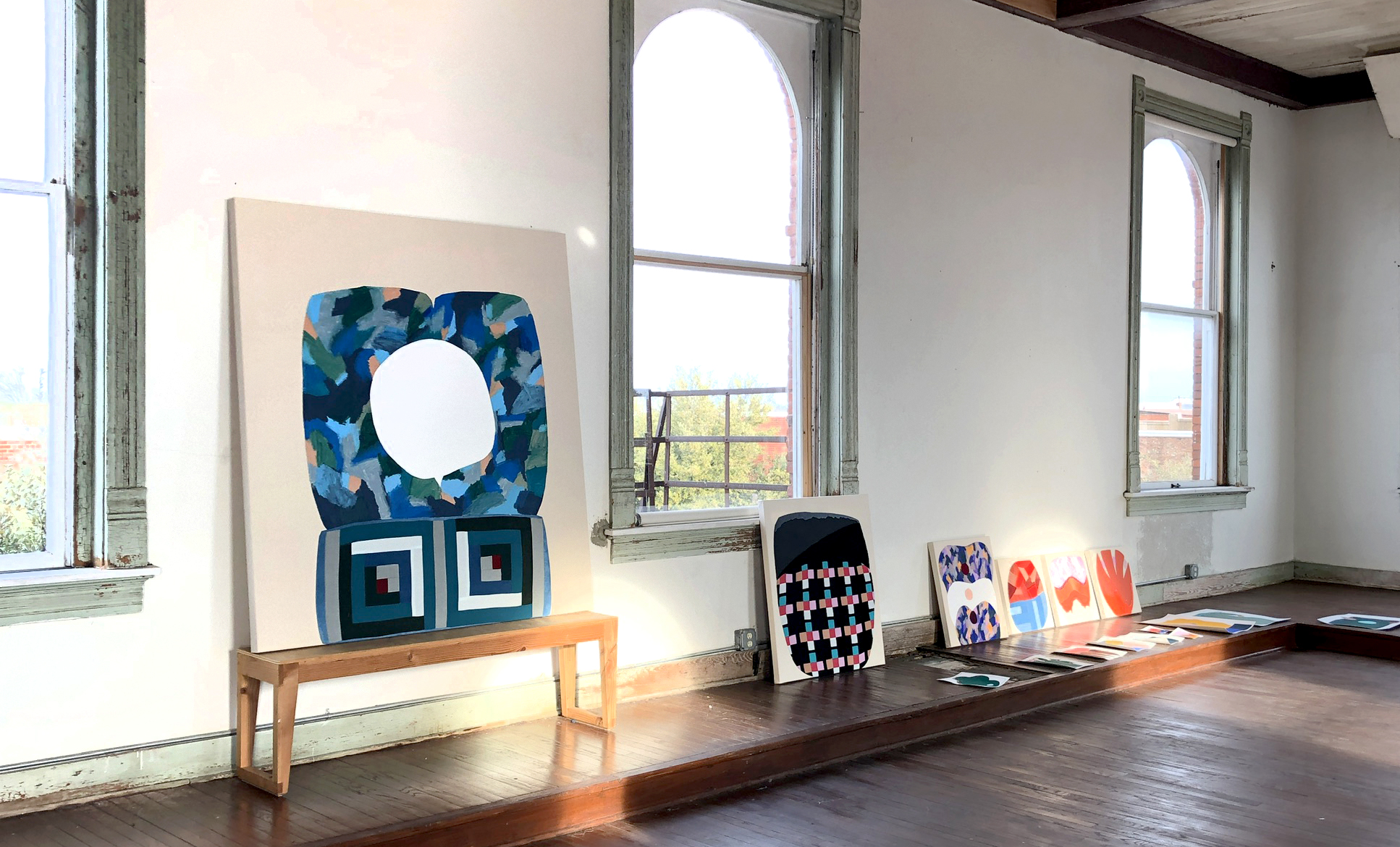 3rd Floor Studio view and a selection of works by Amanda Valdez, Feb-March 2019, to be shown at The Landing Gallery in Los Angeles.  Embroidery, hand-dyed fabric, fabric, acrylic, oil stick on mounted paper, black gesso, and canvas