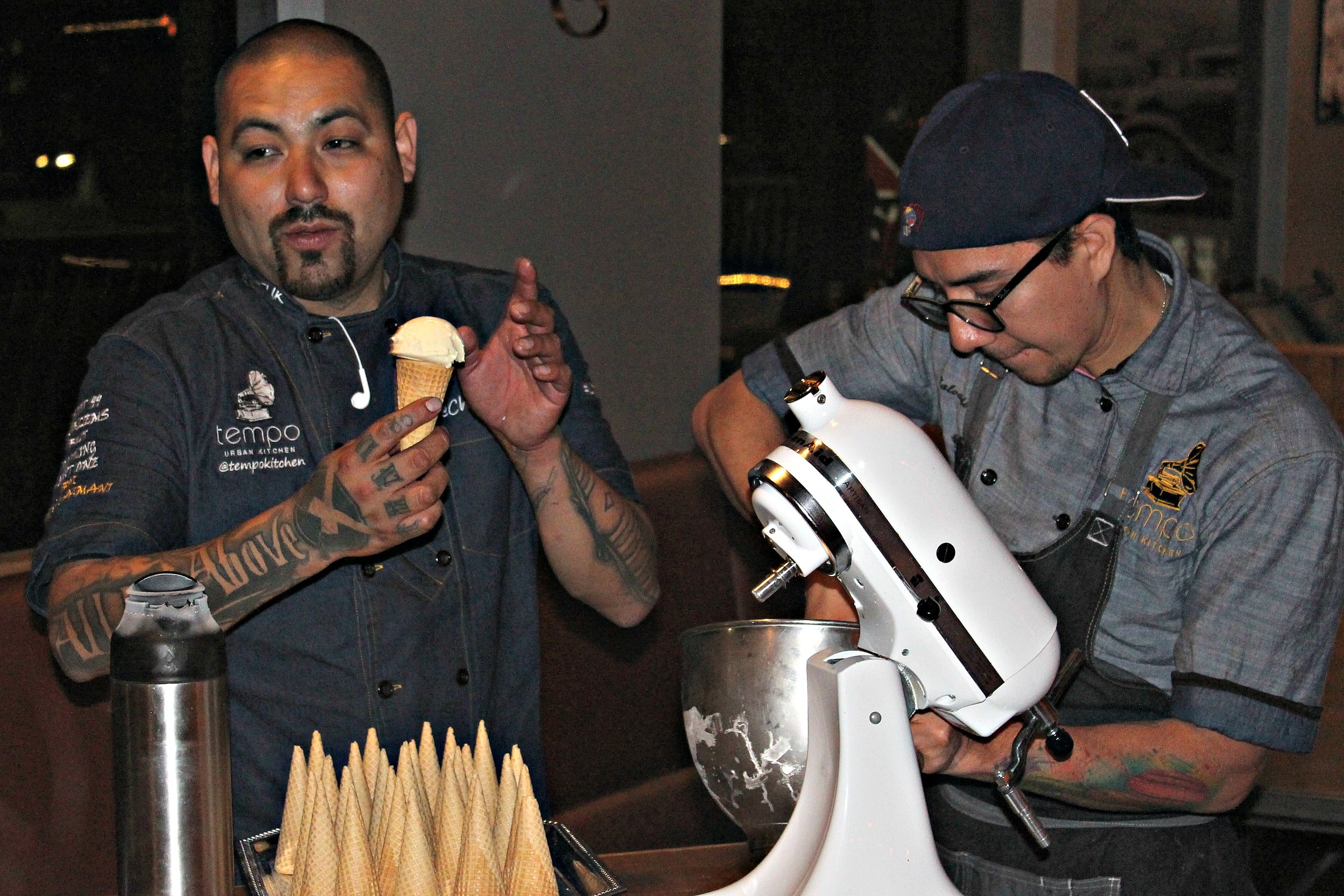 Chef Chris and Chef Sal preparing the Ice cream