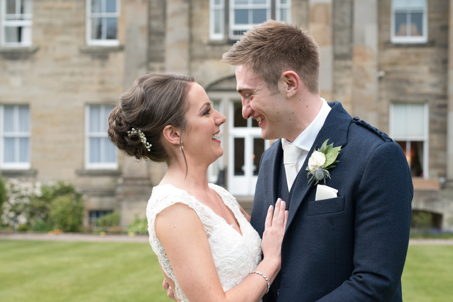 Weddings At Balbirnie House - couple on the lawn