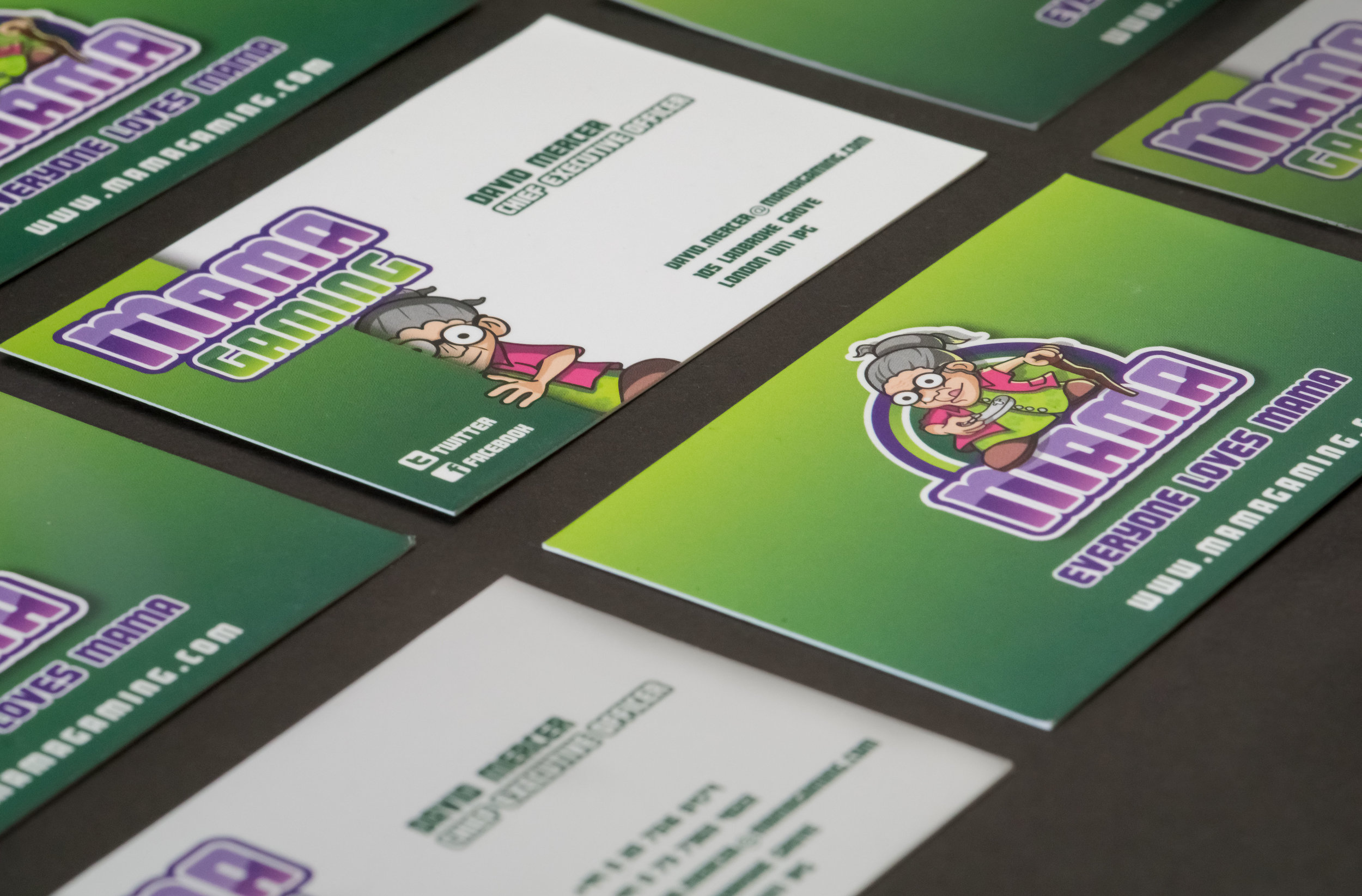 Mamagaming business cards designed and printed.