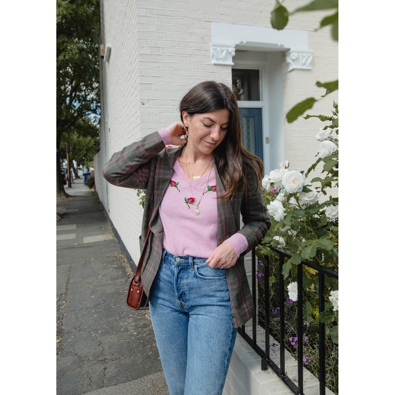 Fran styled our Rose jumper with a blazer and high waisted jeans - with the all essential button fly!