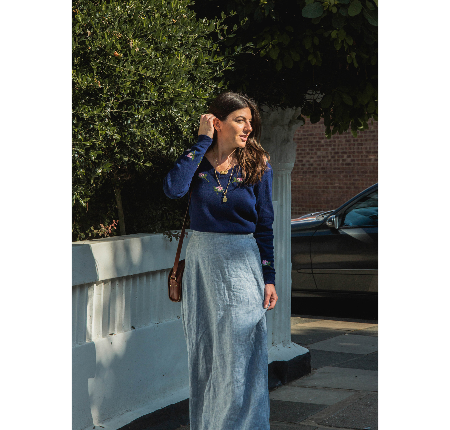 Fran styled our Rose jumper with this gorgeous linen maxi skirt.