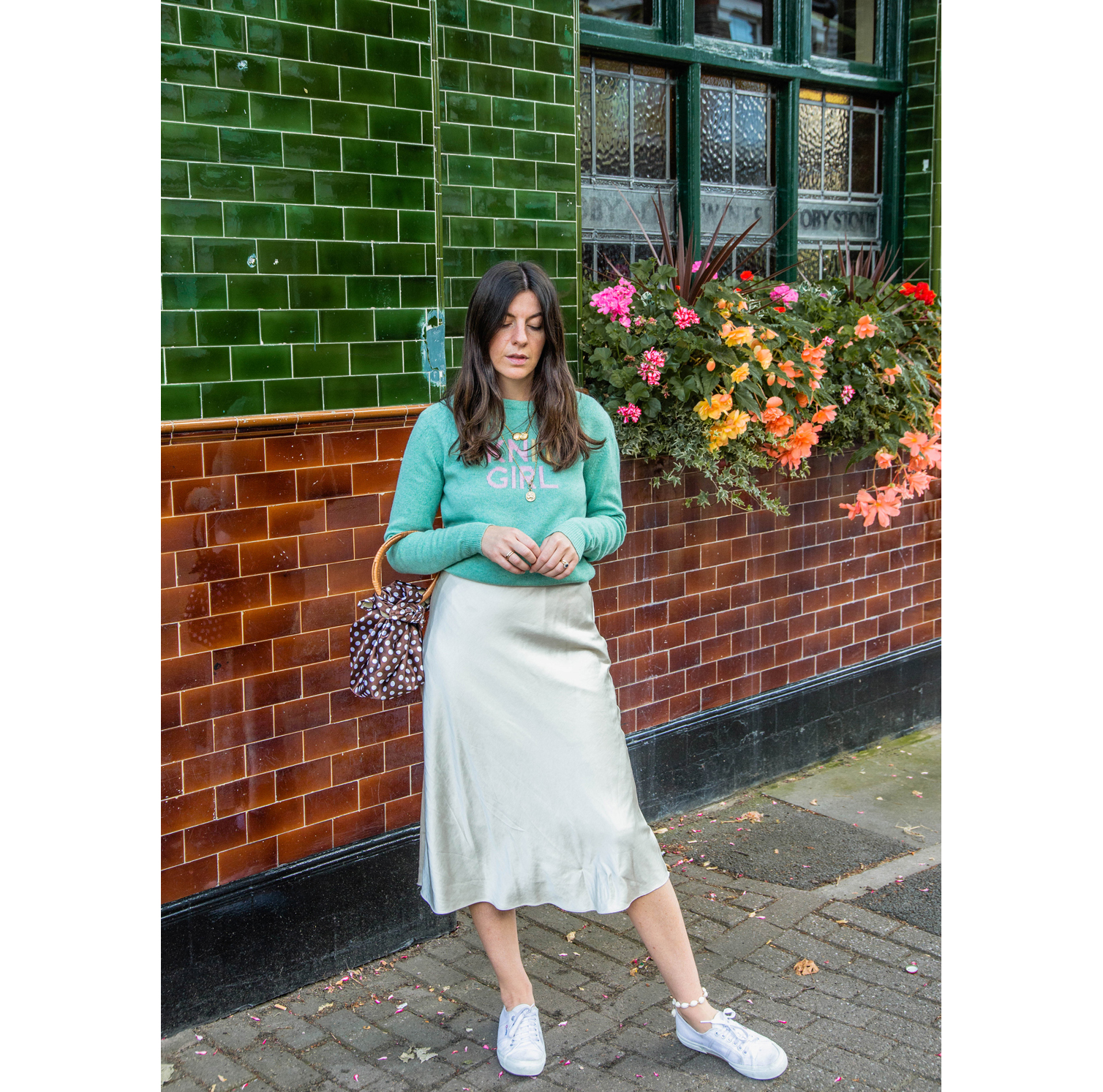 The mix of textures - silky satin and fluffy lambswool is just dreamy! Fran styles this skirt down with some comfy trainers.