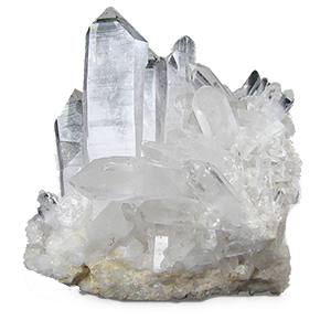 "CRYSTAL QUARTZ:  Crystal quartz can appear in almost any color and can also be stained with titanium to give it a rainbow-hue. This stone is of the most abundant on Earth. Throughout history, these crystals have been utilized by spiritual masters from around the world as a source of ""light"" and ""healing."" They are known to vibrate at the same level of their owner, allowing whatever healing the owner is focused on to come through. They are like a port to a higher knowing and healing that the owner is ready to receive or manifest. Whatever you are moving towards in your life, crystal quartz stones will help you get there. Crystal quartz can be used in so many of our POUND pieces to make them bolder, stronger and more vibrant. We love the raw nature that they often display and are so happy we have access to share with all of you."