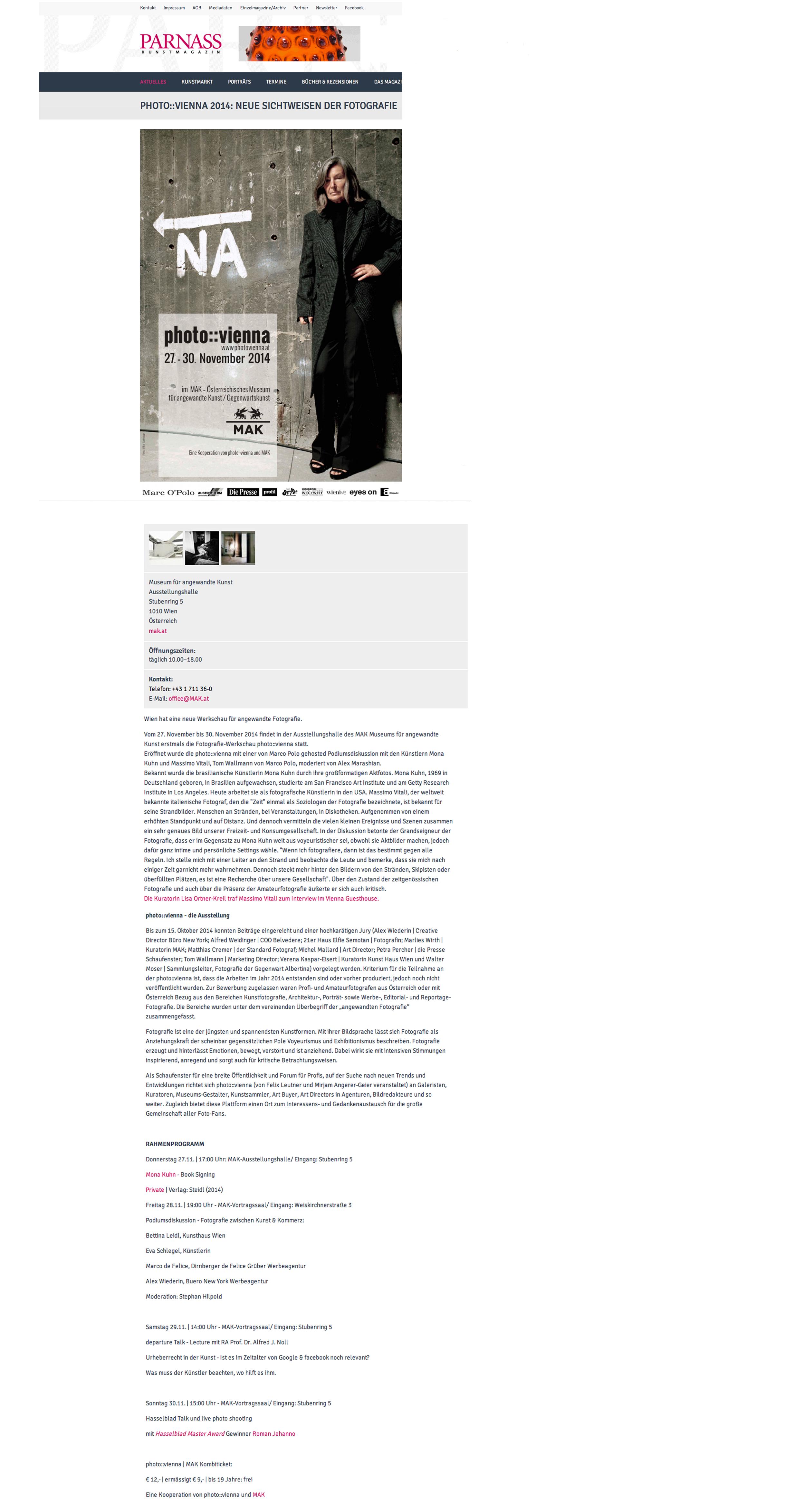 Parnass Kunstmagazin // photo::vienna 2014 Neue Sichtweisen der Fotografie