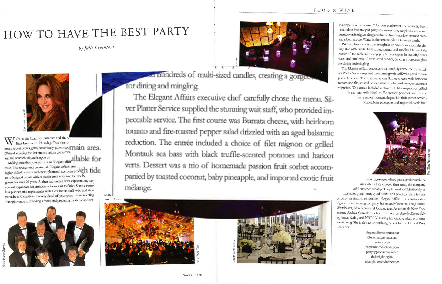 """Silver Platter Service Mentioned in """"Social Life Magazine"""" (August 2012)"""