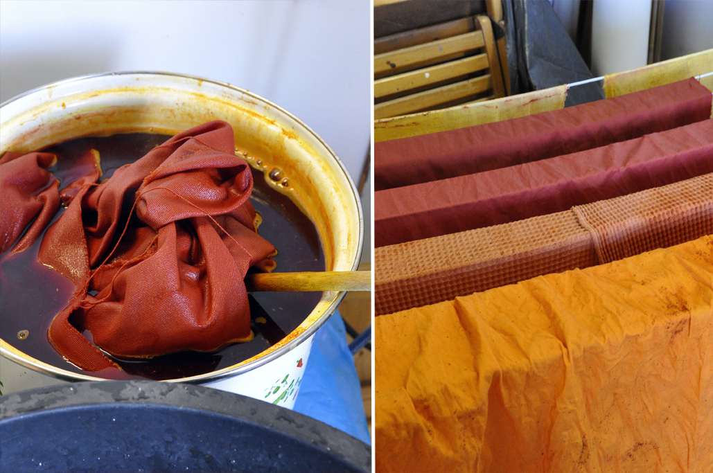 Left: turmeric + washing soda. Right, from back to front: turmeric + washing soda -first, second and third piece of fabric to be dyed; annatto +washing soda.