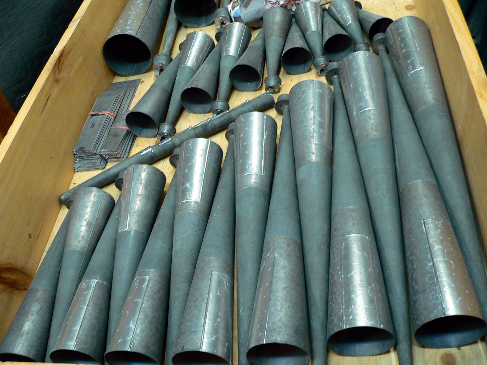 Great Trumpet pipes restored and new inserts soldered in