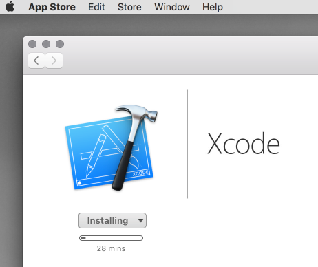 The Xcode installation takes around 30 minutes to complete.