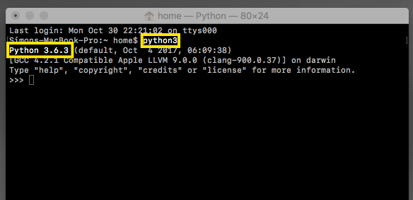The Terminal command 'python3' launches Python 3.