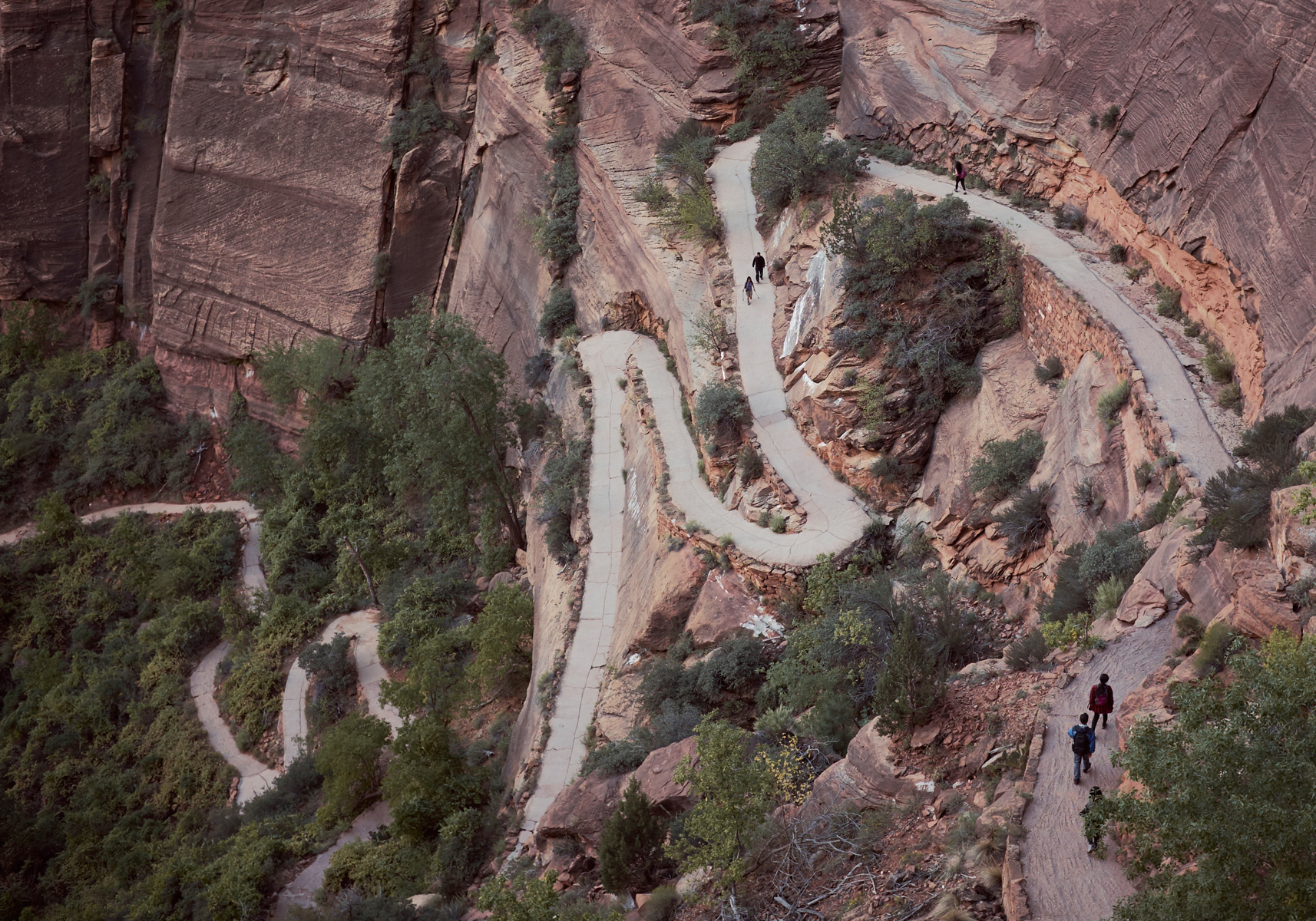 People on the switchbacks at the start of the Angels Landing trail in Zion. Kirsty Owen photography