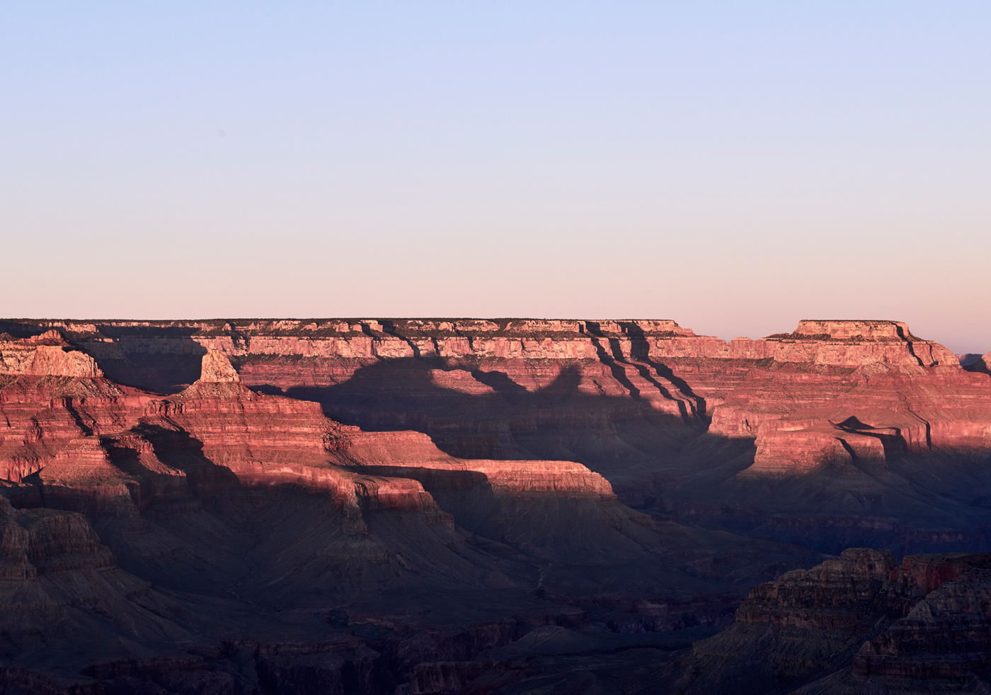 Sunset colours at Hopi Point on the south rim of the Grand Canyon. Kirsty Owen photography