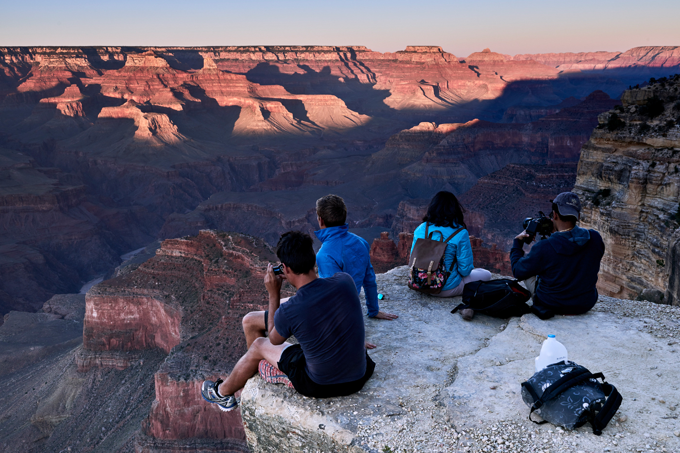People watching the sunset at Hopi Point in the Grand Canyon. Kirsty Owen photography