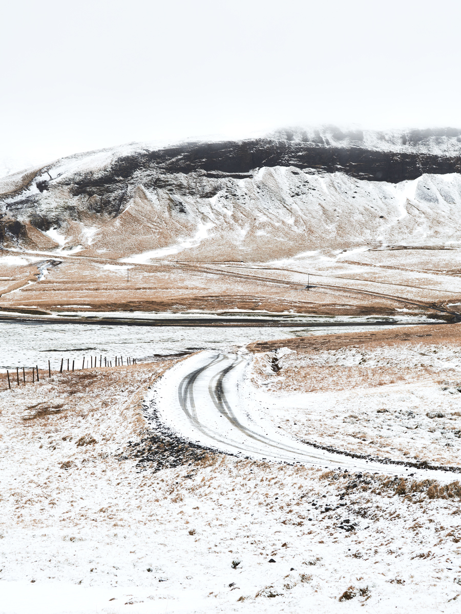 Snowy road in Iceland. Kirsty Owen Photography.
