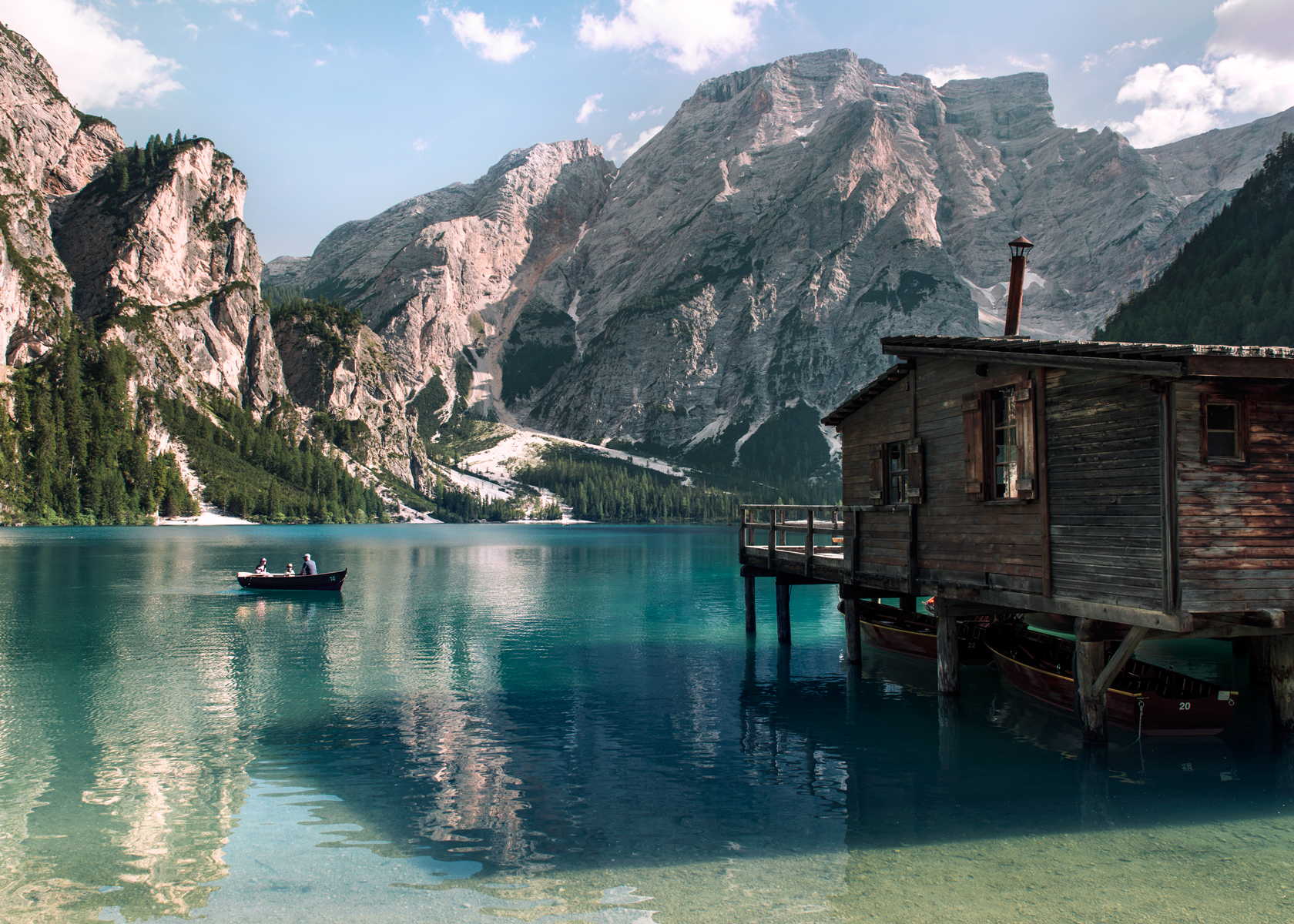 Row boat on Pragser Wildsee, Lago di Braies in Italy. Kirsty Owen photography