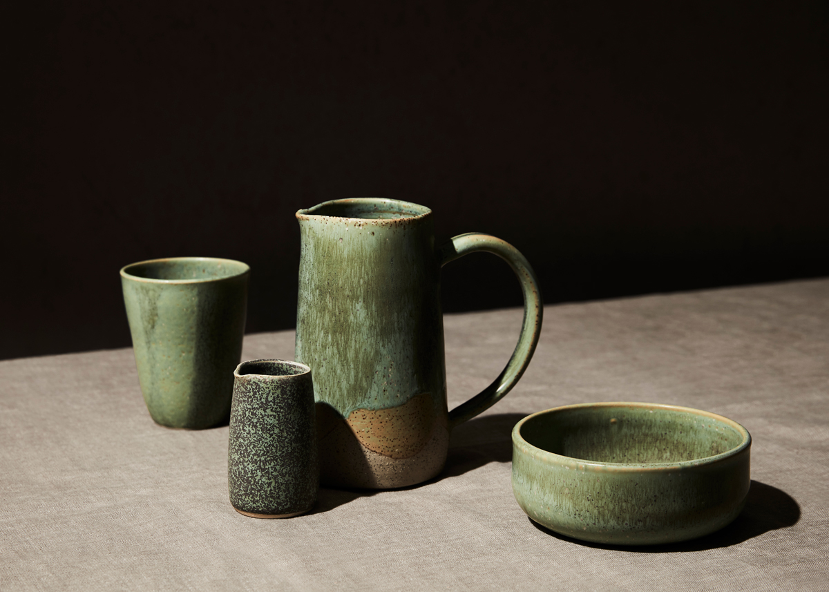 green pottery still life kirsty owen photography