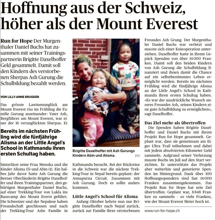 Zofinger Tagblatt, 23. Oktober 2014