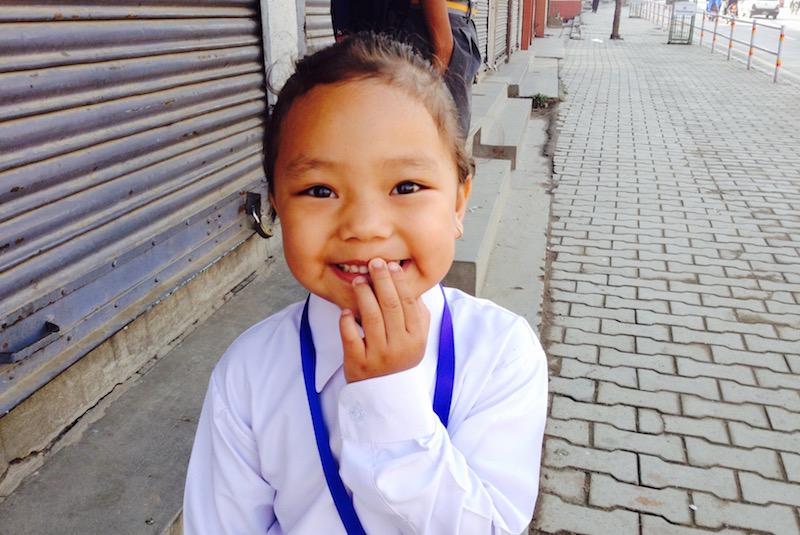 Alisma Gurung an ihrem ersten Schultag an der Little Angels' School in Kathmandu