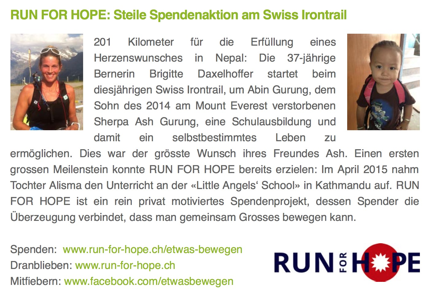 Newsletter Swiss Irontrail, 6. August 2015