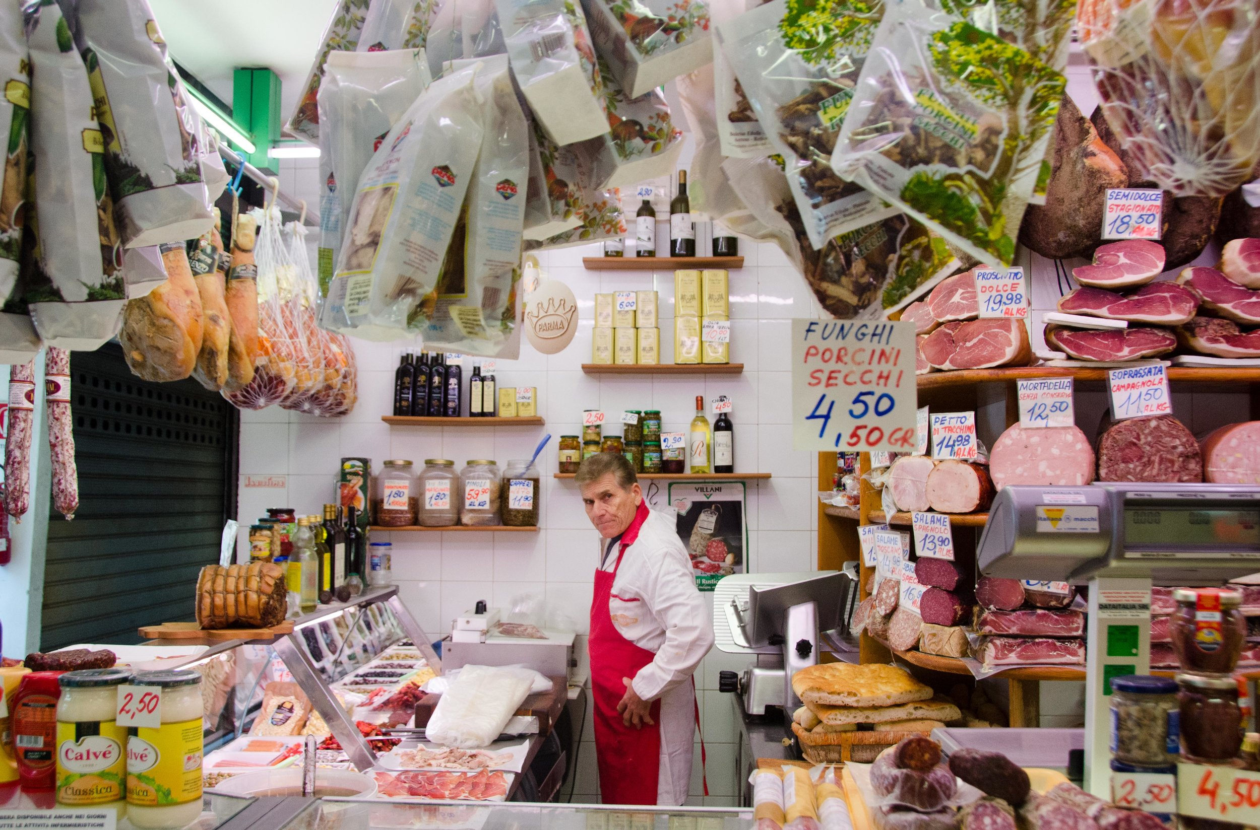 Butcher at work.  Taken in Florence, Italy