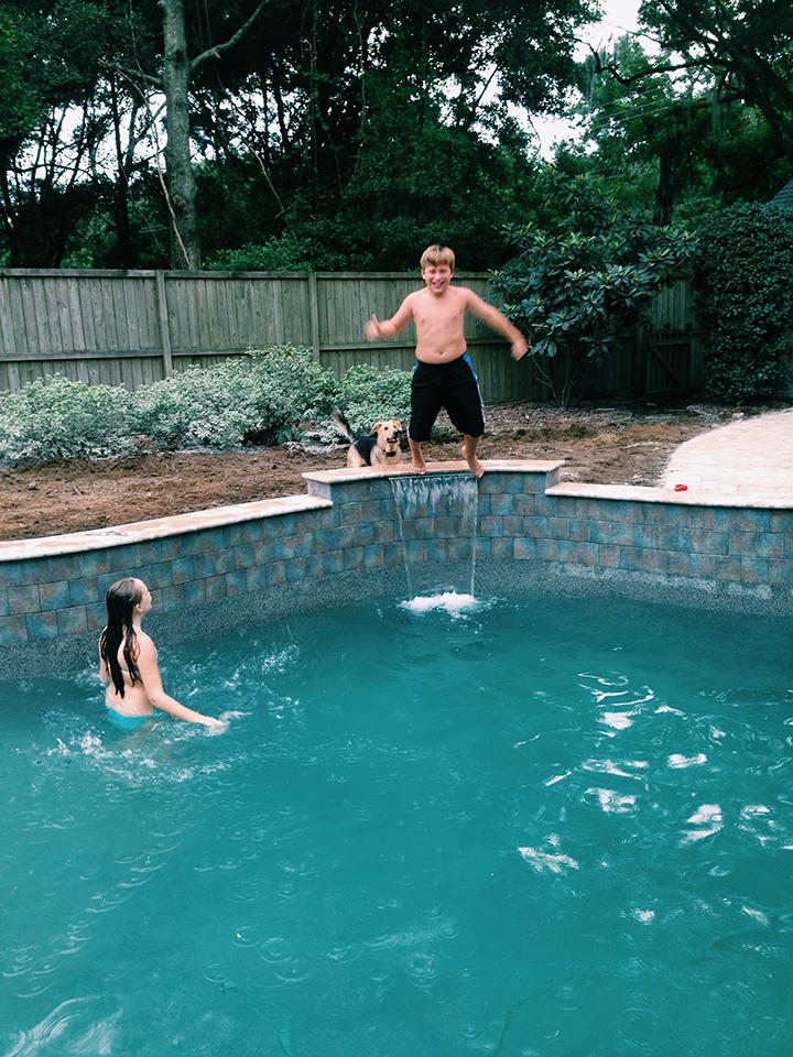 Inaugural swim at my sister's new pool! Yayyyy pools! (iphone photo)