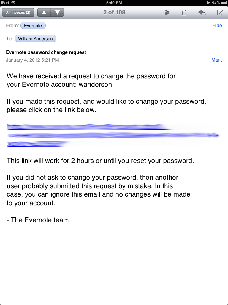 No Reply Email from Evernote
